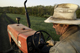 Virginia, Swoope, Polyface Farm. Joel Salatin moving Eggmobile (chicken coop)
